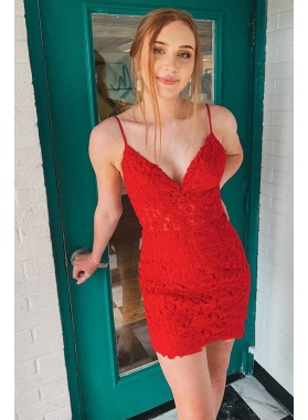 2021 Sheath Knee Length Red Backless Sweetheart Short Lace Homecoming Dresses