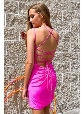 2021 Sheath Pink Sweetheart Lace Up Back Short Homecoming Dresses