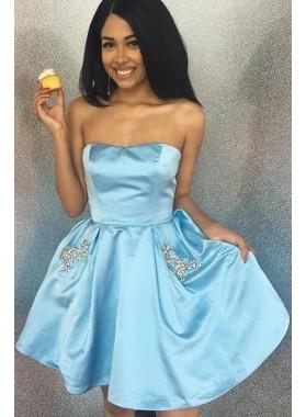 A Line Strapless Knee Length Royal Blue Short 2021 Homecoming Dresses