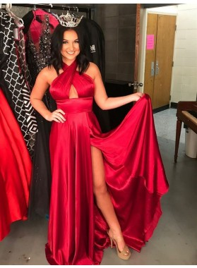 2020 Cheap Princess/A-Line Red Side Slit Halter Prom Dresses