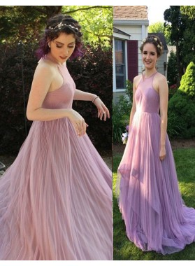 Sleeveless Sweep Train Layers A-Line/Princess Tulle Prom Dresses