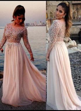 Beading Long Sleeve A-Line/Princess Chiffon 2020 Glamorous Pink Prom Dresses