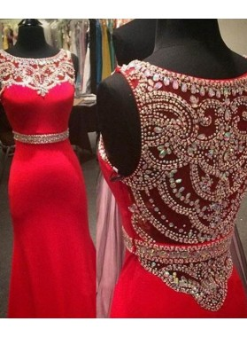 2019 Gorgeous Red Beading Jewel Neck Mermaid/Trumpet Satin Prom Dresses
