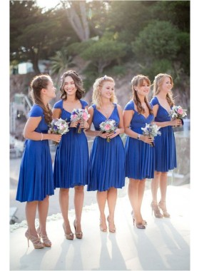 2021 Cheap A Line Royal Blue Chiffon Ruffles Short Bridesmaid Dresses / Gowns