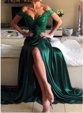 Beading Lace Off-the-Shoulder Stretch Satin Prom Dresses