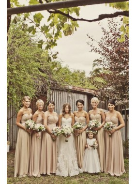 2019 Cheap A Line Chiffon Champagne Floor Length Sweetheart Bridesmaid Dresses / Gowns