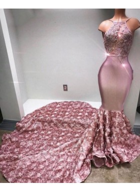 Trumpet/Mermaid Satin Halter Dusty Rose 2020 Prom Dresses