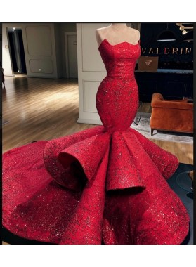 2019 Gorgeous Red Appliques Strapless Mermaid/Trumpet Sequin Prom Dresses