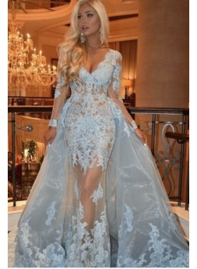 2021 Long Sleeve Sheath/Column Light Blue V-neck Lace Prom Dresses