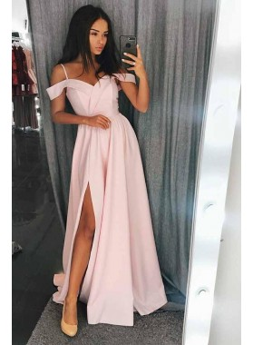 2020 Cute Pink Off the Shoulder Split Satin Prom Dresses