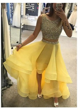 2019 Two Piece Organza Daffodil Prom Dresses