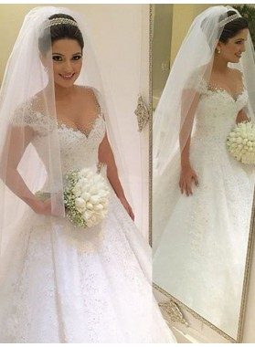 2019 New Arrival Cap Sleeve Lace Ball Gown Wedding Dresses