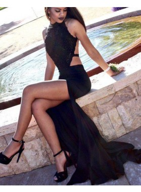 2020 Junoesque Black Chic Open Back Halter Side-Slit Satin Prom Dresses