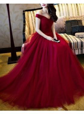 Burgundy Off-the-Shoulder A-Line/Princess Tulle Prom Dresses