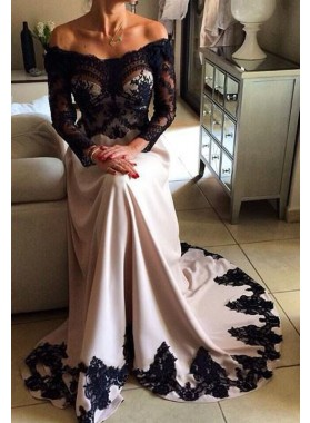 Lace Off-the-Shoulder A-Line/Princess Stretch Satin Nude Prom Dresses
