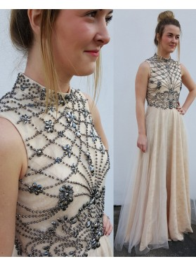 Princess/A-Line Tulle Champagne Beaded Backless Prom Dresses