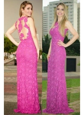 Illusion Neck Lace Column/Sheath Prom Dresses