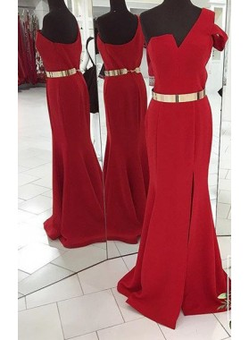 2019 Gorgeous Red One Shoulder Mermaid/Trumpet Satin Prom Dresses