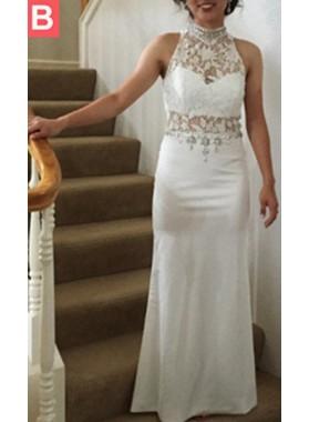 Halter Column/Sheath Stretch Satin Prom Dresses