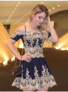 A-Line Off-the-Shoulder Short Sleeves Navy Blue Chiffon Homecoming Dress 2019 with Appliques