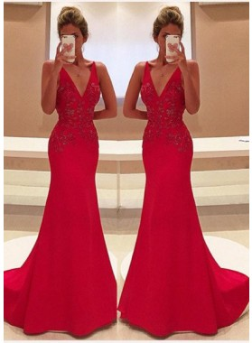 2018 Gorgeous Red Appliques V-Neck Sweep Train Satin Prom Dresses
