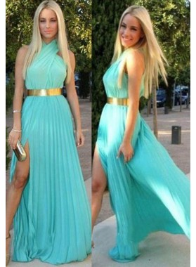 Pleats High-Slit High Neck Chiffon Prom Dresses