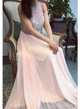 Pearl Pink Beading Round Neck A-Line/Princess Chiffon Prom Dresses