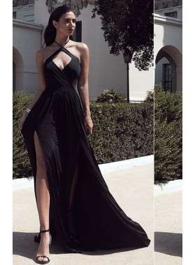 2019 Junoesque Black Halter Front Split Open Back Stretch Satin Prom Dresses