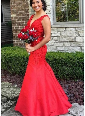2019 Gorgeous Red Appliques Straps Mermaid/Trumpet Satin Prom Dresses