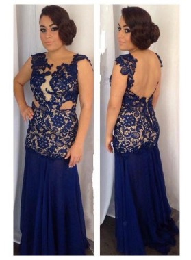 LadyPromDress 2019 Blue Appliques Backless Column/Sheath Chiffon Prom Dresses