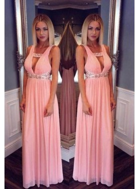 Beading Straps Backless Chiffon Prom Dresses