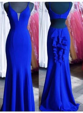 LadyPromDress 2018 Blue Prom Dresses Spaghetti Straps Ruffles Mermaid/Trumpet Satin