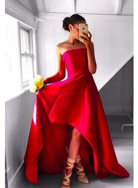 2018 Gorgeous Red Prom Dresses Strapless High-Low A-Line/Princess Satin
