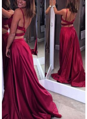 Burgundy Ruching Stretch Satin Two Pieces Prom Dresses