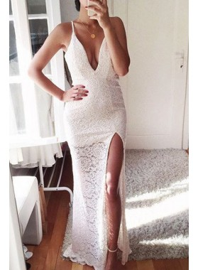 2018 Unique White Sexy Spaghetti Straps Front-Split Column/Sheath Lace Prom Dresses
