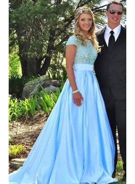 LadyPromDress 2020 Blue Prom Dresses Round Neck Beading A-Line/Princess Satin