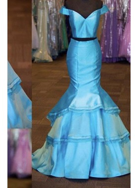 LadyPromDress 2018 Blue Off-the-Shoulder Mermaid/Trumpet Satin Two Pieces Prom Dresses