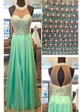 Beading Halter A-Line/Princess Chiffon LadyPromDress 2019 Blue Prom Dresses