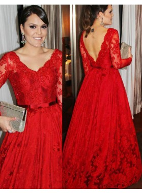 2019 Gorgeous Red V-Neck Long Sleeve Backless A-Line/Princess Lace Prom Dresses