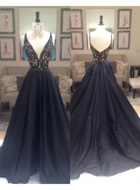 2019 Junoesque Black Beading V-Neck Zipper Prom Dresses