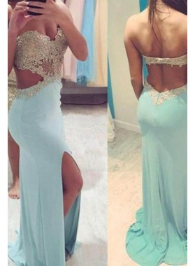 LadyPromDress 2019 Blue Floor-Length/Long Sweetheart Column/Sheath Satin Prom Dresses