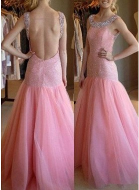 Beading Straps Backless Mermaid/Trumpet Tulle Prom Dresses