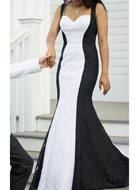 2019 Junoesque Black Prom Dresses Straps Sleeveless Backless Mermaid/Trumpet Lace