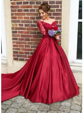 2021 Gorgeous Red V-Neck Long Sleeve Beading Sweep/Brush Train Satin Prom Dresses
