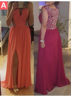 Beading Floor-Length/Long Column/Sheath Chiffon Prom Dresses