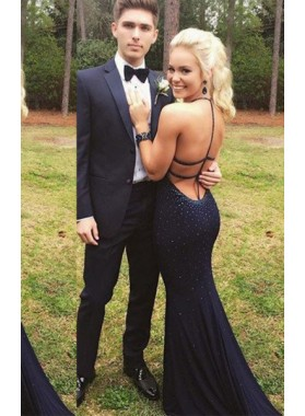 2020 Junoesque Black Crystal Halter Stretch Satin Prom Dresses