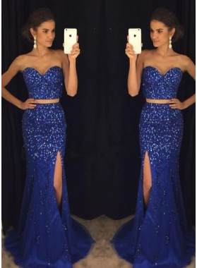 Royal Blue Sweetheart Two Pieces Side Slit Prom Dresses