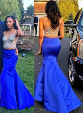 Royal Blue Beading Mermaid/Trumpet Satin Two Pieces Prom Dresses