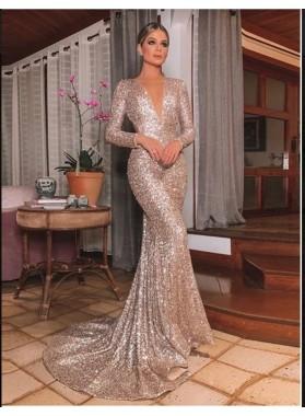 2021 Rose Gold Mermaid V Neck Long Sleeves Backless Sequins Prom Dresses