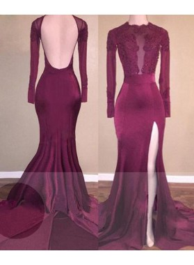 2019 Cheap Mermaid Burgundy Backless Chiffon Prom Dresses
